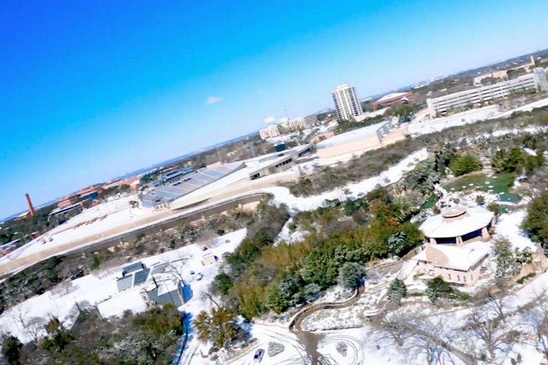 WATCH: Drone footage of the San Antonio snow from Brackenridge Park